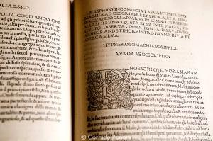 Hypnerotomachia Poliphili by Francesco Colonna published by Aldus Manutius in 1499. Biblioteca Nazionale Marciana, Venice